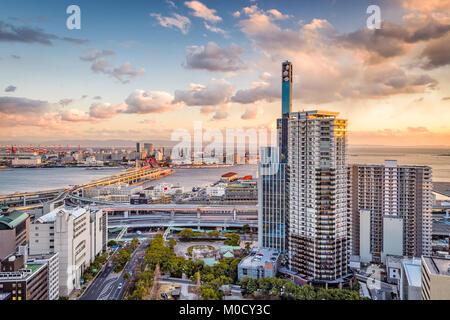 Kobe, Japan cityscape view towards Port Island. - Stock Photo