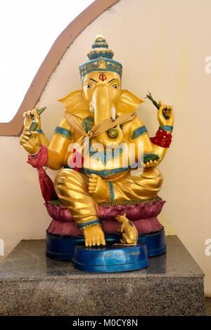 This is Number 1 of 32 miniature Ganesh statues in the circular hall under the large pink elephant building of Wat - Stock Photo