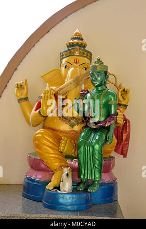 This is Number 5 of 32 miniature Ganesh statues in the circular hall under the large pink elephant building of Wat - Stock Photo