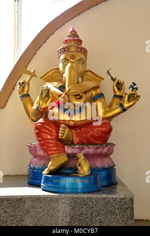 This is Number 7 of 32 miniature Ganesh statues in the circular hall under the large pink elephant building of Wat - Stock Photo