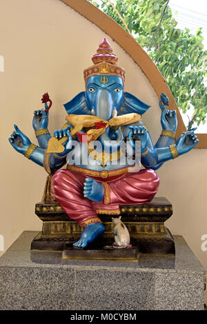 This is Number 8 of 32 miniature Ganesh statues in the circular hall under the large pink elephant building of Wat - Stock Photo