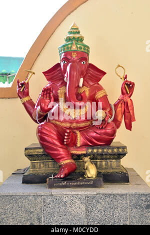 This is Number 17 of 32 miniature Ganesh statues in the circular hall under the large pink elephant building of - Stock Photo