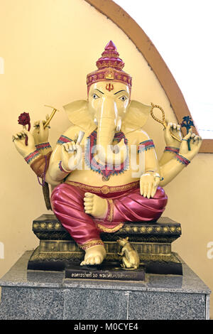 This is Number 20 of 32 miniature Ganesh statues in the circular hall under the large pink elephant building of - Stock Photo