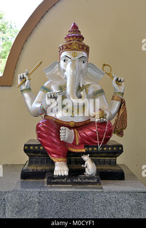 This is Number 25 of 32 miniature Ganesh statues in the circular hall under the large pink elephant building of - Stock Photo