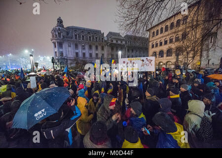 Bucharest, Romania - January 20, 2018: Thousand of Romanian around the country protest in Bucharest against governing - Stock Photo