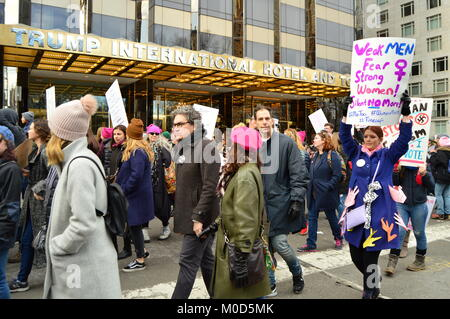 New York, NY, USA January 20, 2018 Protesters on the Women's March in New York City stop in front of the Trump International - Stock Photo