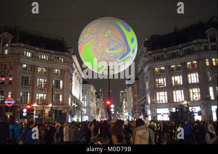 Lumiere London 2018. Origin of the World bubble by Miguel Chevalier suspended over Oxford Circus. The city-wide - Stock Photo