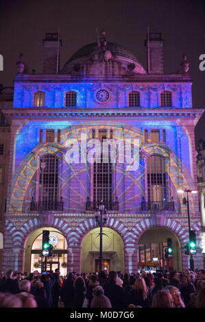 Lumiere London 2018. Camille Gross and Leslie Epsztein's Voyage projections on the Hotel Cafe Royal, Picadilly Circus. - Stock Photo