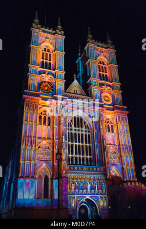 Lumiere London 2018. Light of the Spirit Chapter 2, created by Patrice Warrener, projected at Westminster Abbey. - Stock Photo