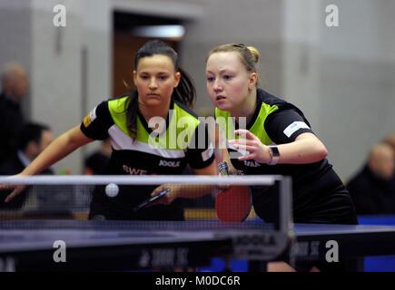 Deutschland. 20th Jan, 2018. Anastasia Bondareva (li) und Yvonne Kaiser (re), (TV Busenbach) GES/ Tischtennis/ Bundesliga: - Stock Photo