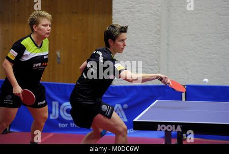 Deutschland. 20th Jan, 2018. Tanja Kraemer (re) und Jessica Goebel, (TV Busenbach) GES/ Tischtennis/ Bundesliga: - Stock Photo