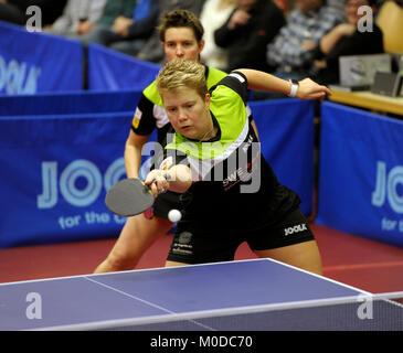 Deutschland. 20th Jan, 2018. Tanja Kraemer und Jessica Goebel (vorne), (TV Busenbach) GES/ Tischtennis/ Bundesliga: - Stock Photo