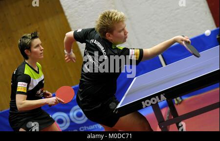 Deutschland. 20th Jan, 2018. Tanja Kraemer und Jessica Goebel (re), (TV Busenbach) GES/ Tischtennis/ Bundesliga: - Stock Photo
