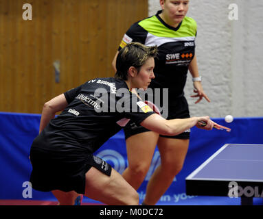 Deutschland. 20th Jan, 2018. Tanja Kraemer (vorne) und Jessica Goebel, (TV Busenbach) GES/ Tischtennis/ Bundesliga: - Stock Photo