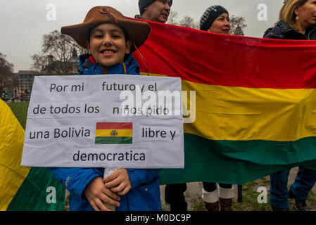 January 20, 2018 - London, UK. 20th January 2018. Bolivians protest in Parliament Square against President Evo Morales - Stock Photo