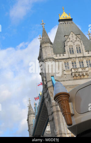 a large plastic advertising sign of an ice cream in front of tower bridge in central london. takeaway foods and - Stock Photo