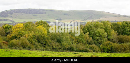 The Long Man of Wilmington in the South Downs near Eastbourne, East Sussex, England, UK. - Stock Photo