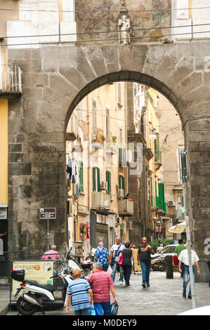 AT NAPLES - ITALY - ON 08/31/2016 - Saint January gate , one of the ancient gates of the city of Naples, leading - Stock Photo