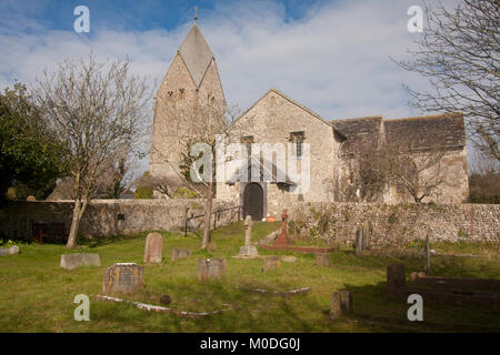 11thC Anglo Saxon Church of St. Mary the Blessed Virgin, Sompting, West Sussex, England, with distinguished Rhenish - Stock Photo