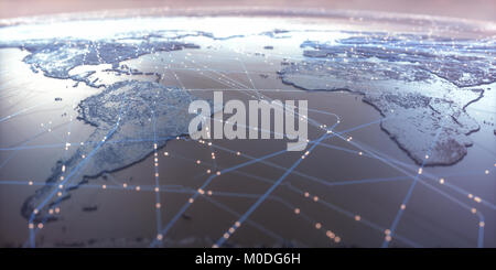 World map with satellite data connections. Connectivity across the world. - Stock Photo