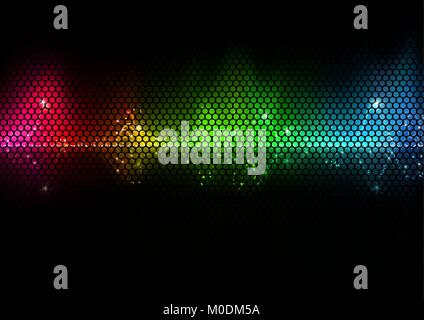 Colorful Audio Wave and Wire Mesh Pattern - Stock Photo