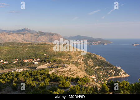 Scenic view of the Dinaric Alps and coastline from the Mount Srd in Dubrovnik, Croatia, on a sunny day. - Stock Photo