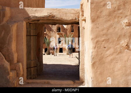 View through doorway to Ksar Ouled Soltane, fortified granary, Tataouine district, Tunisia - Stock Photo