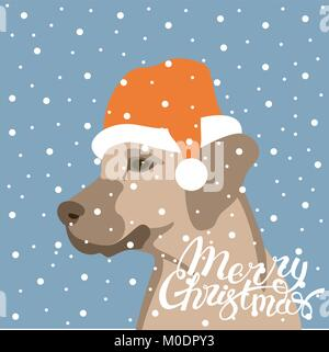 dog in santa hat vector illustration flat style profile side - Stock Photo
