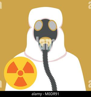 man in bio-hazard suit and gas mask flat style - Stock Photo