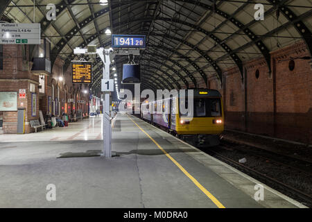A Northern rail class 142 pacer train at Darlington railway station working the 1906 Bishop Auckland - Saltburn - Stock Photo