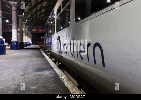 Northern Rail logo on the side of a Northern rail class 156 sprinter train at  Darlington station - Stock Photo