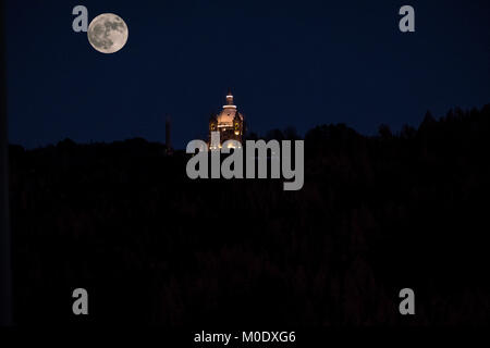 Super moon rising over the sanctuary of Sameiro in Braga, Portugal - Stock Photo