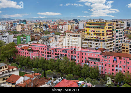 Colorful apartment buildings in Tirana, Albania - Stock Photo