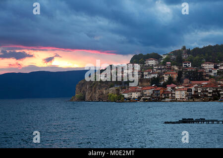 Sunset in the Lake Ohrid, in Macedonia. - Stock Photo