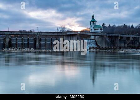Historic dam wall, Hochablass, river Lech, Augsburg, Germany - Stock Photo