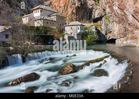 Waterfalls and dervish house in Blagaj, Bosnia and Herzegovina. - Stock Photo