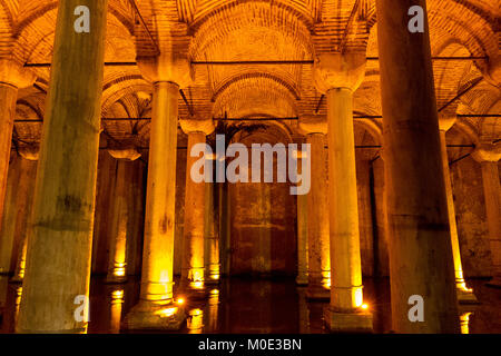 Byzantine water reservoir known as Underground Cistern or Basilica Cistern in Istanbul, Turkey - Stock Photo