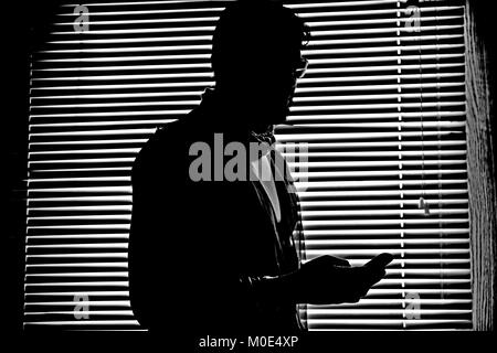 Striped pattern background for man silhouette and handshake silhouette dark figure - Stock Photo