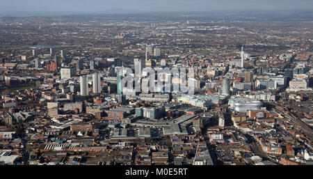aerial view of the Birmingham city centre skyline, UK - Stock Photo