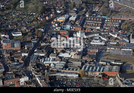 aerial view looking up the A52 Church Street in Stoke on Trent, Staffordshire, UK - Stock Photo