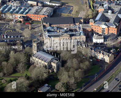 aerial view of Stoke Minster & Town Hall, Stoke-on-Trent, UK - Stock Photo
