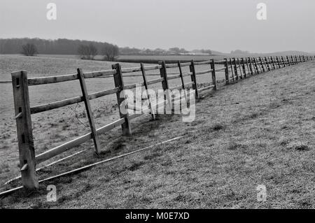 Fencing on a frosty morning - Stock Photo