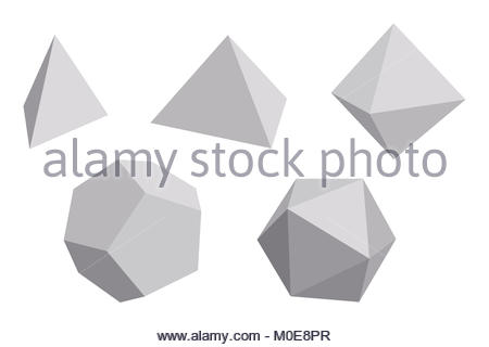 Platonic Solids With Gray Faces Regular Convex Polyhedrons In Euclidean Geometry Tetrahedron