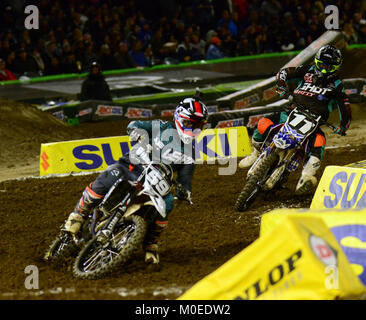 Anaheim, CA, USA. 21st Jan, 2018. COLE MARTINEZ [59] beats KYLE CHISHOLM into the corner at the Monster Energy AMA - Stock Photo