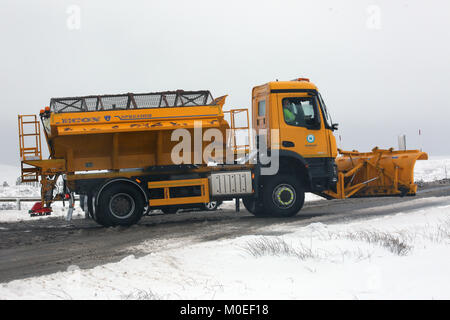 West Yorkshire, UK. 21st Jan, 2018. A snow plough on Saddleworth Moor, West Yorkshire, 20th January, 2018 (C)Barbara - Stock Photo