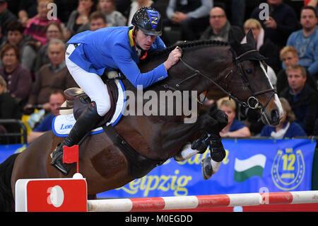 Leipzig, Germany. 21st Jan, 2018. Winner Christian Ahlmann on Taloubet Z in action during the Longines FEI FEI World - Stock Photo
