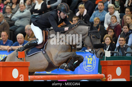 Leipzig, Germany. 21st Jan, 2018. Harrie Smolders of the Netherlands (3rd) on Zinius at the Longines FEI FEI World - Stock Photo