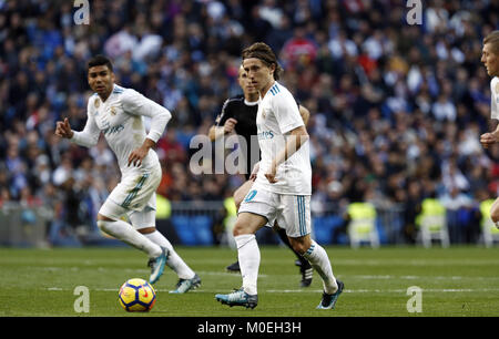Madrid, Madrid, Spain. 21st Jan, 2018. Modric seen in action during the game.Real Madrid faced Deportivo de la Coruña - Stock Photo
