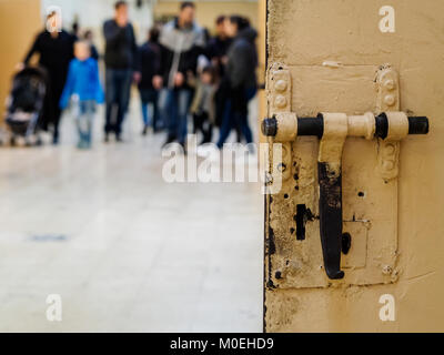 Barcelona, Spain. 21st Jan, 2018. The visitors could walk the galleries of the old prison 'La Model' in Barcelona, - Stock Photo