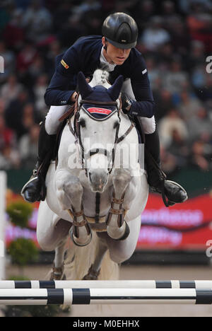 Leipzig, Germany. 21st Jan, 2018. Max Kuehner of Austria on Chardonnay 79 durch at the Longines FEI FEI World Cup - Stock Photo